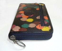 Fossil Coated Canvas Navy Ziparound Accordion Clutch Large Wallet image 5
