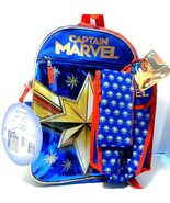 Captain Marvel Backpack 5 Piece Set With Lunch Bag & Water Bottle Tags ! - $11.30