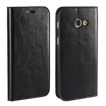Genuine Leather Wallet Case with Stand For Samsung Galaxy A5 2017 - Black  - $10.99