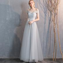 Bridesmaid Dress Off Shoulder Sweetheart Tulle Empire Dress Floor Length Wedding image 4