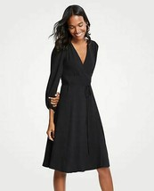 New Ann Taylor Black 3/4 Sleeve Fit Flare V-neck Crossover Front Wrap Dr... - $59.39