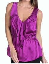 NEW REBECCA TAYLOR silk ruffled top 4 designer sleeveless purple luxe ve... - $87.29