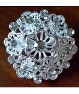Silver Rhinestone Crystal Wedding Cake Brooch Pin Bow Decoration Bouquet... - $1.65