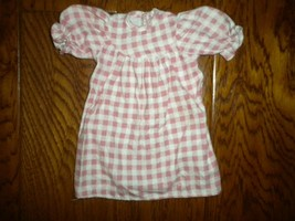 """Vintage 1980s Baby Doll Clothes 10"""" Short Sleeve Flannel Doll Dress - $5.93"""