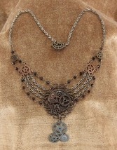 SteamPunk Cosplay Victorian Chains and Gears Necklace, NEW UNUSED - $15.47