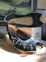Wedge Back Open Toe Spring Leather Step Cut Black Italy Sandals 40 Laser Sling Agwqpv