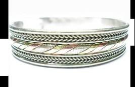 Large Tibetan Delicate Braided 3-Color Copper Multi-Weaving Amulet Cuff Bracelet - $9.86