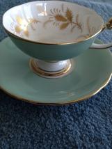 aynsley england Bone China cup & saucer mint green - $29.99