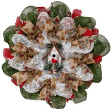 Rustic Birdhouse Winter Wreath With Cardinal Handmade Deco Mesh - $94.99