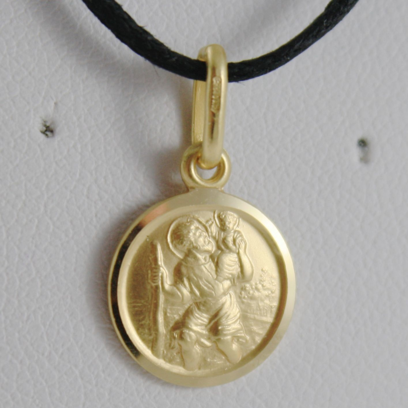 SOLID 18K YELLOW GOLD ST SAINT SANT CRISTOFORO CHRISTOPHER MEDAL, MADE IN ITALY