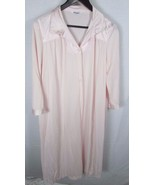 Vanity Fair nylon Long Robe or button down Night Gown Large Vintage pink... - $11.57