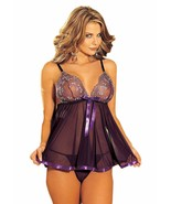 SHIRLEY OF HOLLYWOOD Purple Risque Collection Babydoll Set, US One Size,... - $14.55