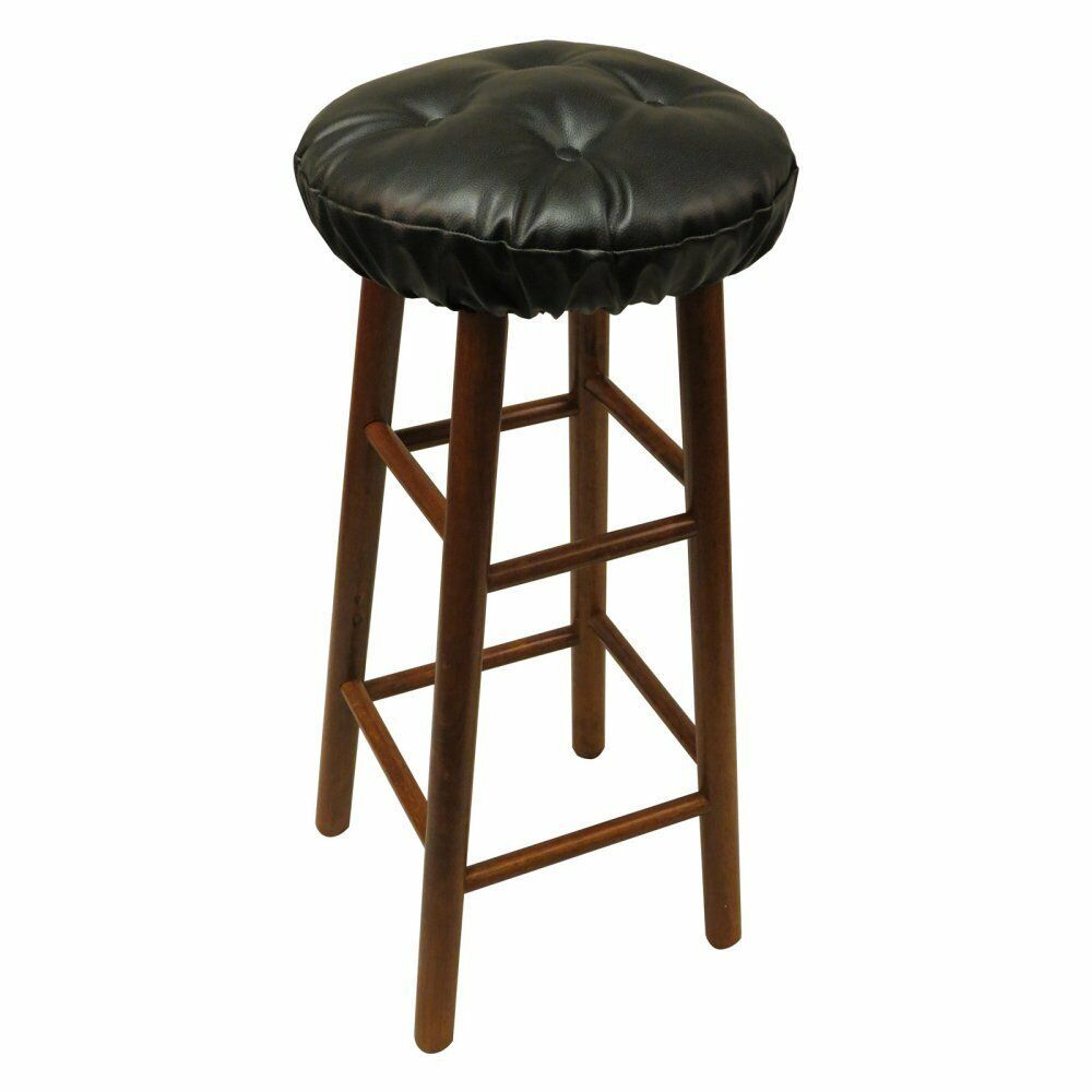 Set Of 2 Faux Leather Round Bar Stool Seat Cushions Chair