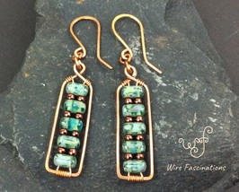 Handmade copper earrings: rectangles wire wrapped with turquoise glass b... - $27.00