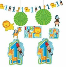 Amscan One Wild Boy 1st Birthday Room Decorating Kit, Large, Blue/Green - $24.19