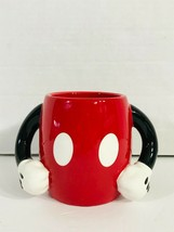 Disney Galerie Mickey Mouse Arms Hands Double Handles Red Pants Coffee Mug Cup - $14.99