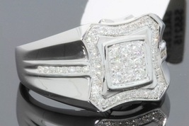14K White Gold Plated 925 Silver Men's Engagement Pinky Band Ring Round Cut CZ  - $120.99