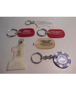Lot of 6 Advertising Keychains Plastic Rubber Casino Chip - $9.90