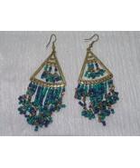 Estate Long Open Goldtone Triangle with Blue & Green Tiny Bead Fringe Da... - $8.59