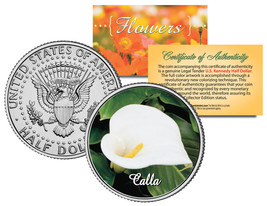 CALLA LILY FLOWER JFK Kennedy Half Dollar US Colorized Coin - $8.86