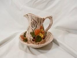 1972 Vintage Ceramic Bowl & Pitcher Set Forest Mushroom and Faux Wood De... - $19.60