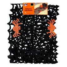 "DG* 12"" x 47"" TABLE RUNNER Black+Orange Glitter SPIDERWEB+SPIDERS Web HA... - $8.99"