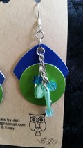 Blue green circle square chain   earrings - $20.00