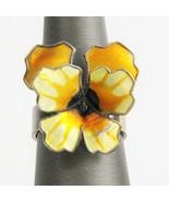 VINTAGE ESTATE Jewelry DAVID ANDERSEN ADJUSTABLE STERLING & ENAMEL PANSY... - $185.00