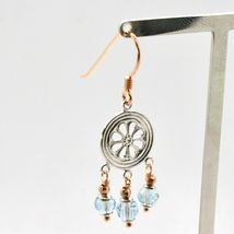 Earrings Silver 925 Laminated Gold Pink with Aquamarine image 4