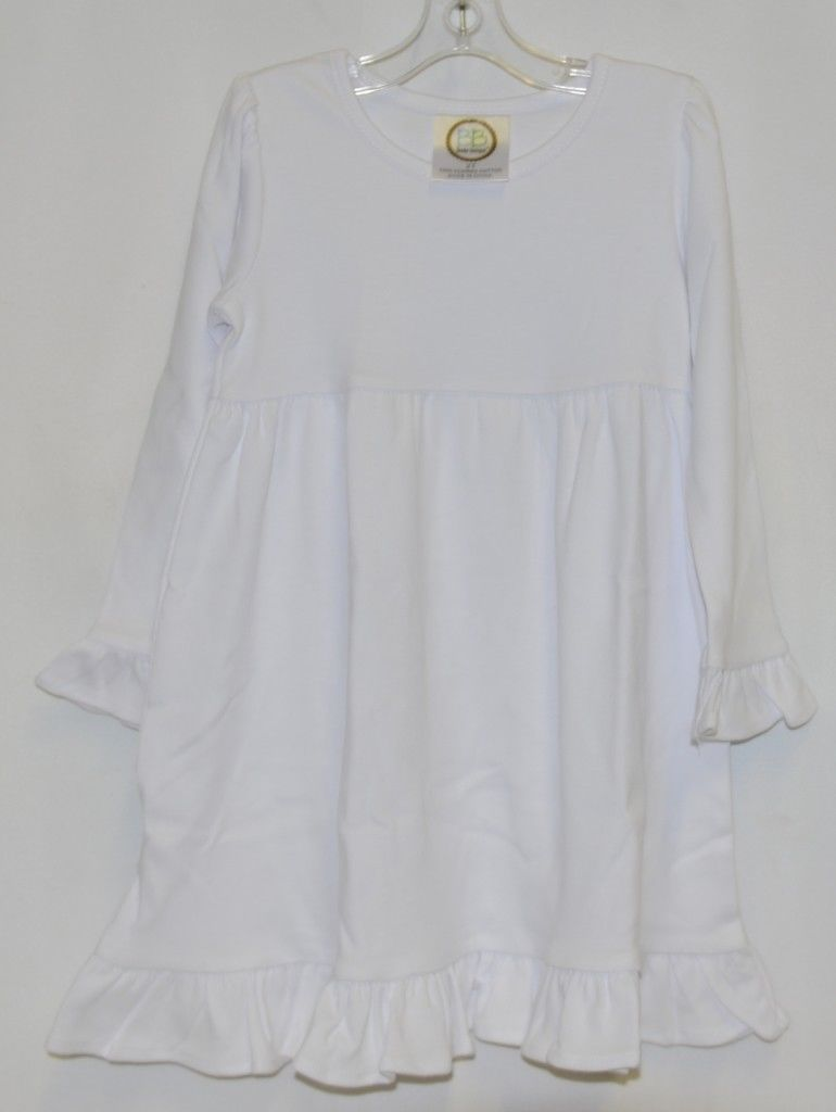 Blanks Boutique White Long Sleeve Empire Waist Ruffle Dress Size 2T