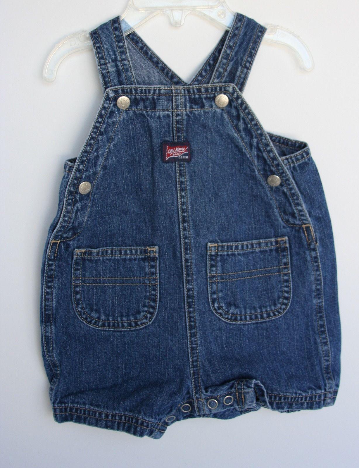 OLD NAVY Baby Denim Short Overalls 3-6 months Snaps 100% Cotton - $9.89