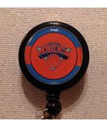 Nba New York Knicks Badge Reel Id Holder Orange Blue Alligator Clip Hand... - $8.99
