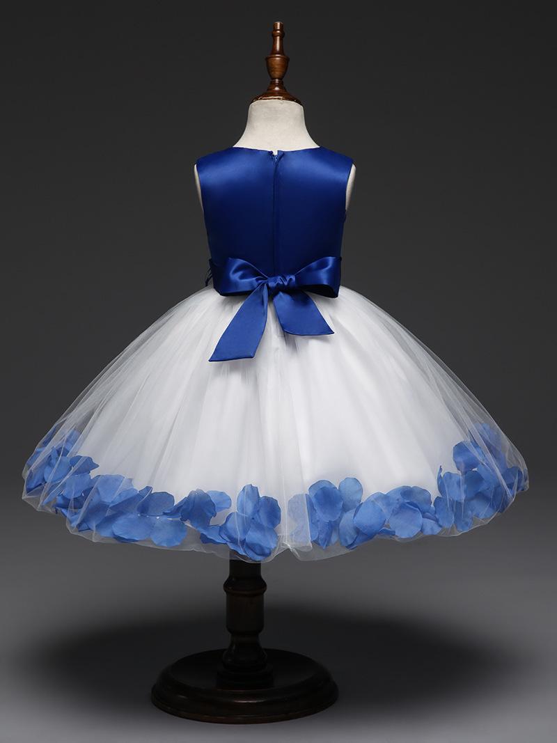 Lovely Royal Blue Wedding Flower Girl Dresses O-Neck Birthday Party Gowns Formal