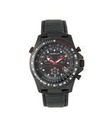 Morphic M36 Series Leather-Band Chronograph Watch - Black/Charcoal - $490.00