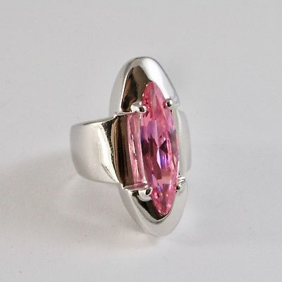 925 SILVER RING RHODIUM WITH CRYSTAL PINK CUT MARQUISE