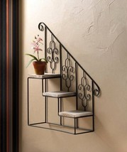 10017537 Accent Plus Stunning Black Staircase Wall Shelf - $35.22