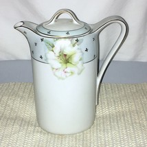 Antique Vessra Hand Painted Chocolate Tea Coffee Pot Germany Orchids Gol... - $34.64