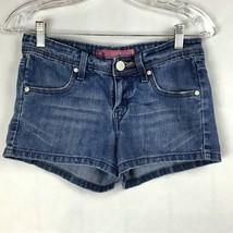 Levis Womens Juniors Size 1 Shorts Denim Jean Booty Shorty Stretch Worn A28-23 - $13.87