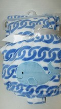 Baby Starters NEW blue white whale baby blanket plush chain link waves - $19.79