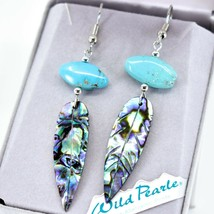 A.T. Storrs Wilde Pearle Abalone Shell & Turqouise Feather Hook Earrings image 2
