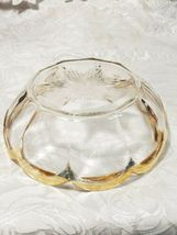 Heisey Glass Colonial Panel Pattern Round Bowl Dish Clear Gold Edge Star Diamond image 3