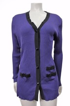 Exclusively Misook Purple black trim ribbed cardigan sweater size M - $45.07