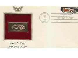 1988 CLASSIC CARS PIERCE ARROW FDC FDI 22kt Gold GOLDEN Cover Replica Stamp - $5.19