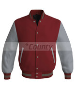 Letterman Super Baseball College Bomber Jacket Sports Maroon Silver Satin - $49.98+