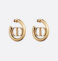 AUTH Christian Dior 2020 ANTIQUE GOLD CD LOGO 30 MONTAIGNE HOOP EARRINGS