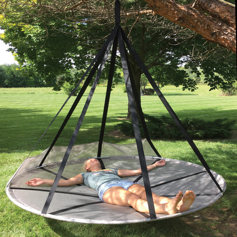 Hammock With Tree Straps Round Outdoor Daybed Lounge Double Hanging Camping Net