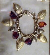 "Estate~ Vintage Charm Bracelet Acorns Acorn Half Shells 7"" - $19.95"