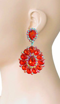 "3.25"" Long Cluster Clip On Earrings, Siam Red Rhinestones,Drag Queen, Pageant  - $17.05"