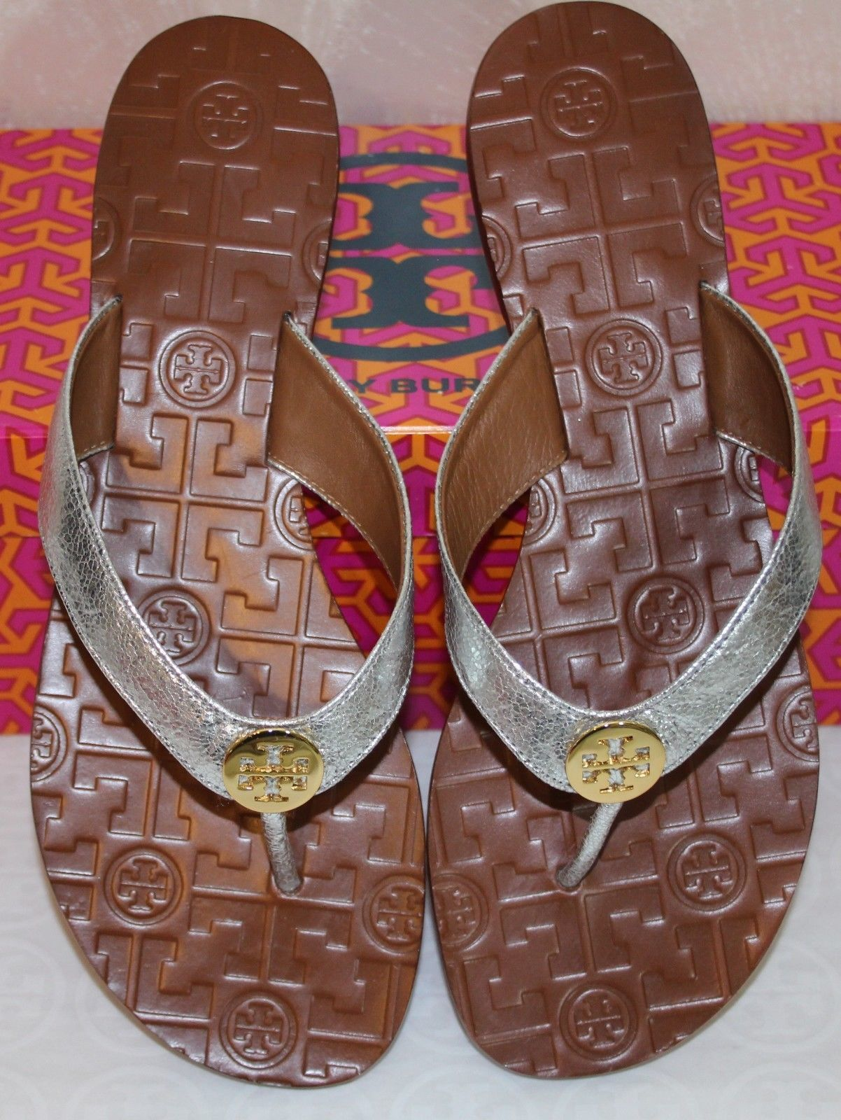 372fdc8116fa Tory Burch Thora Size 8 Metallic Silver Leather Flat Thong Sandals