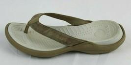 Crocs women's sandals flip flop rubber beige size 8 - $16.78